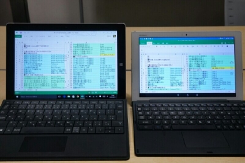 Excelを表示した例(左からSurface 3、Xperia Z4 Tablet)