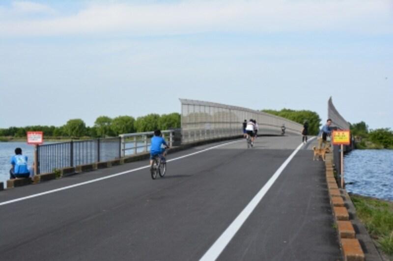 谷中湖の南西端に架かる下宮橋