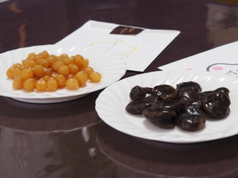 ひよこ豆(260円・80g)&お多福甘納豆(420円・80g)@甘納豆かわむら