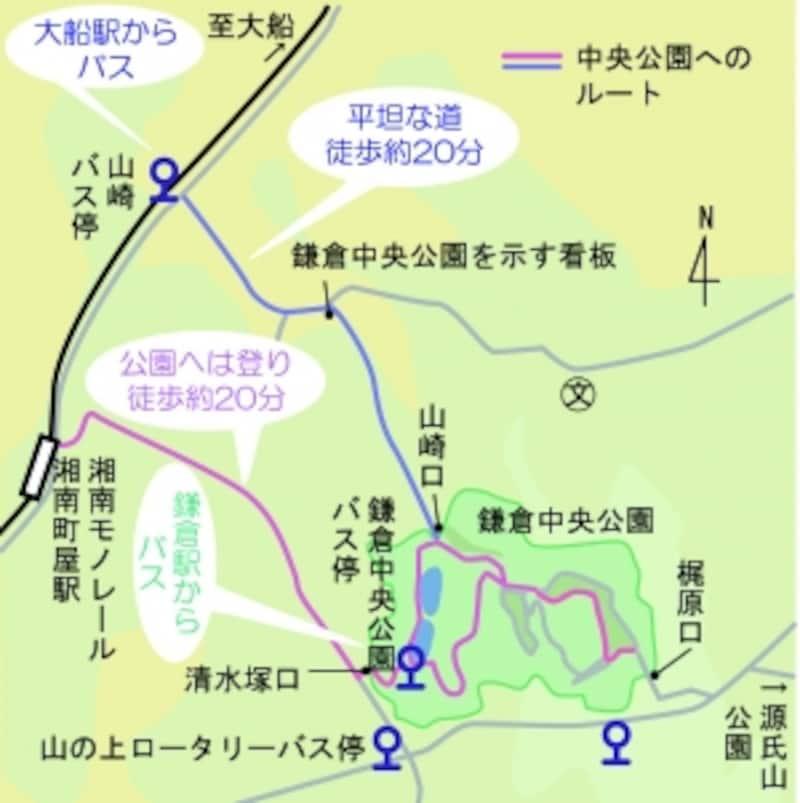 鎌倉中央公園へのアクセス地図
