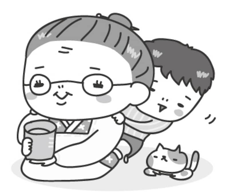 おばあちゃんと孫 敬老の日 イラスト 白黒 かわいい