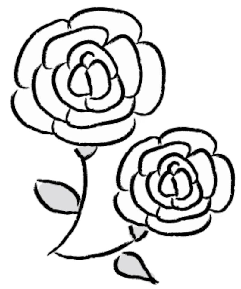 バラ 敬老の日 イラスト 白黒 かわいい