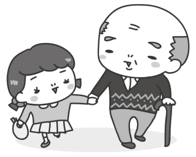 おじいちゃんと孫 敬老の日 イラスト 白黒 かわいい