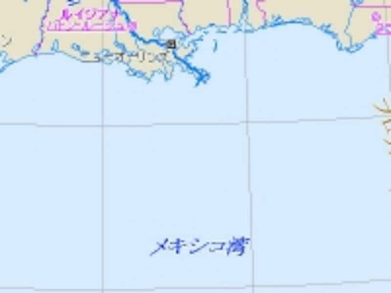 メキシコ湾のルイジアナ州沖。爆発事故はこの周辺で起こり、現在では流出した原油が湾一帯に広がっている