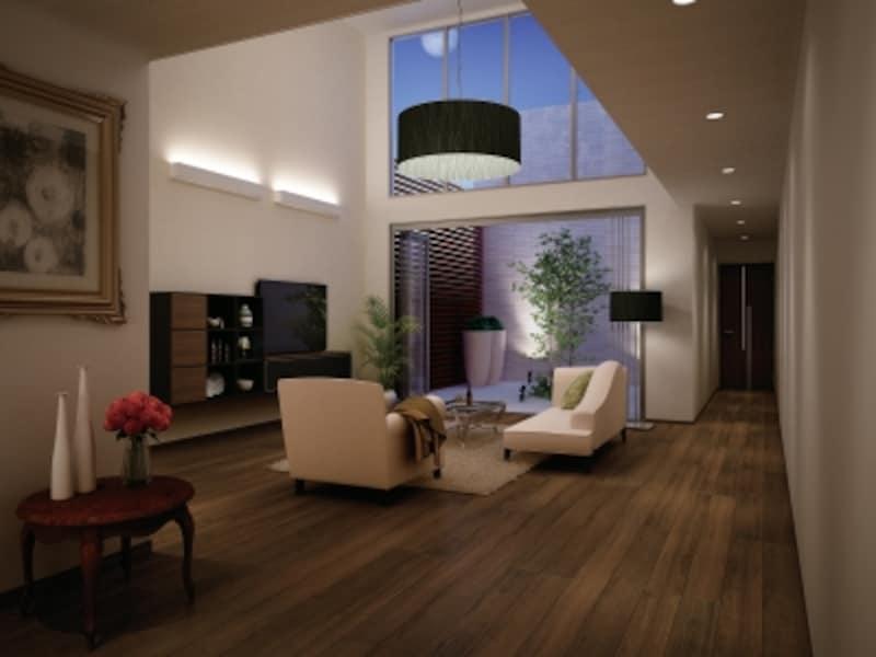 ハピアプレミア空間片開きドアundefined7Pデザインundefined<ウォールナット柄>床材undefinedハピアフロア銘木柄undefined<ウォールナット柄>