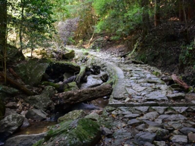 能登川沿いに整備された石畳の道「滝坂の道」。昭和のはじめ頃まで、柳生の里へ運ぶ荷物を背に積んだ牛馬が行き交ったという