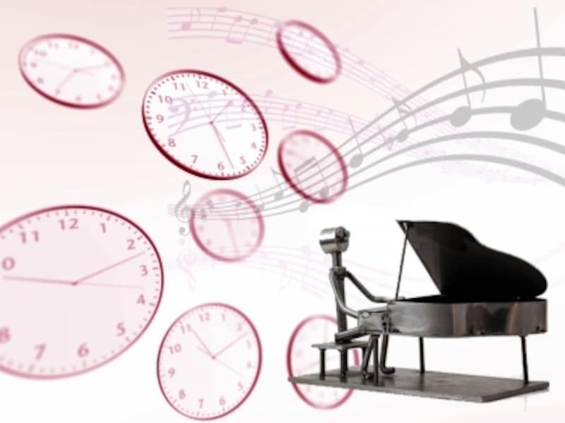 時計と音符の写真
