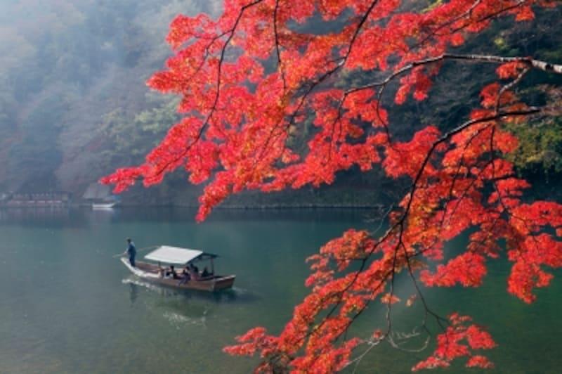 紅葉と屋形船(嵐山)