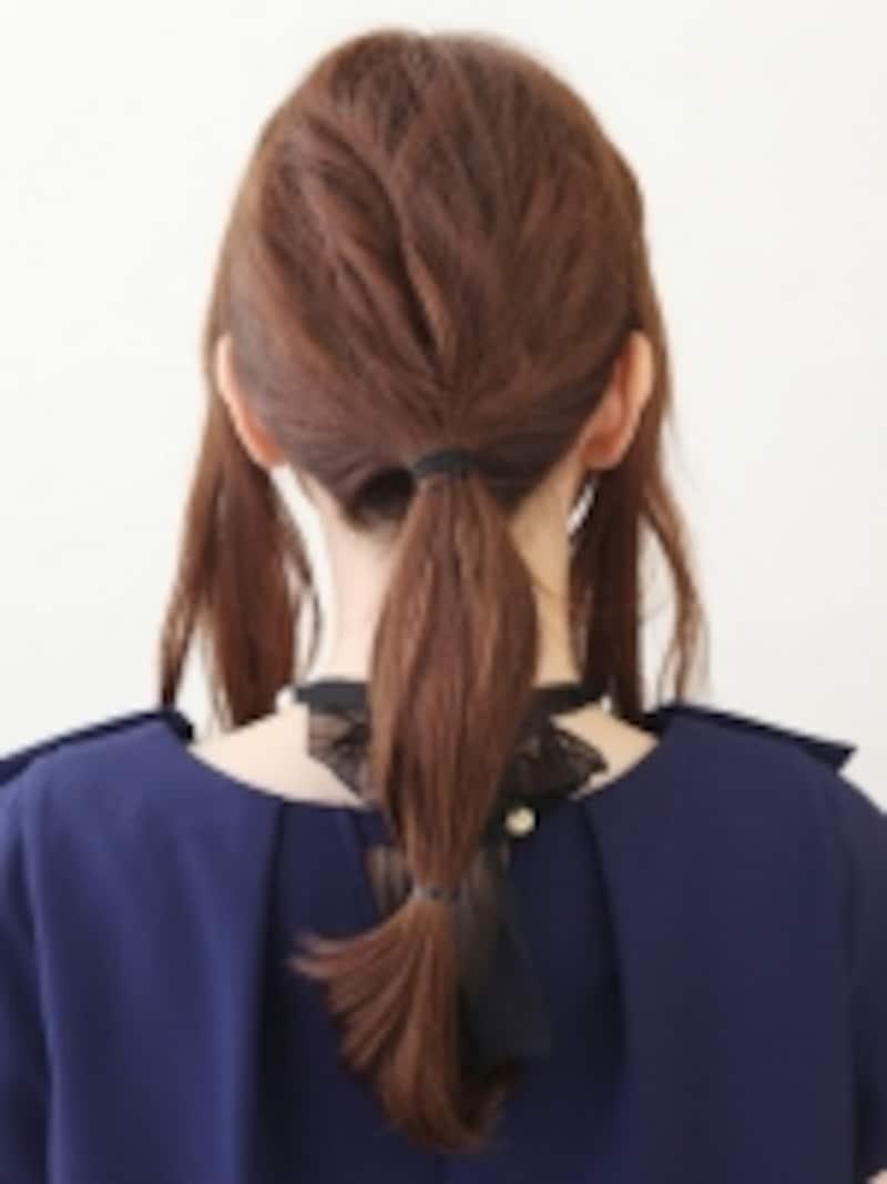 自分の髪の長さに合わせて2つめの結び位置を調整して