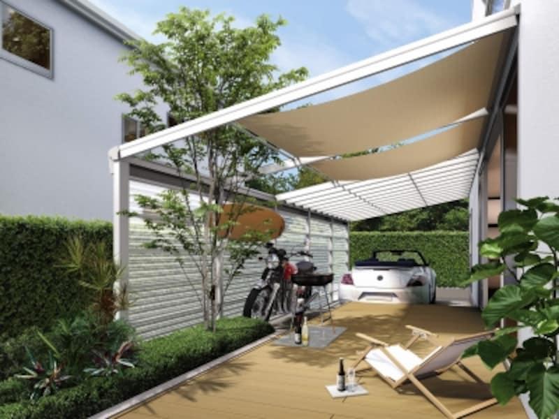 日除けを設け、強い日差しを遮れば、夏場でも快適な空間に。undefined[ヴェクターウェイブPLAN_1H2]undefinedYKKAPhttp://www.ykkap.co.jp/