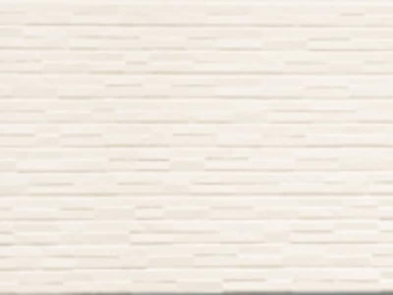 ランダムな凸凹の石模様が特徴。遮熱性フッ素焼付塗装。 [はる一番 デザインシリーズ16 斜石柄 クリーミーホワイト] ケイミュー www.kmew.co.jp