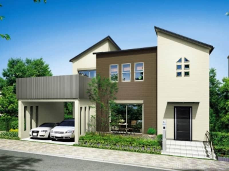 建物躯体の形状に合わせてサイディングを縦に張り分け、印象的な外観に。[セット・イメージ]undefinedYKKAPundefinedhttp://www.ykkap.co.jp/