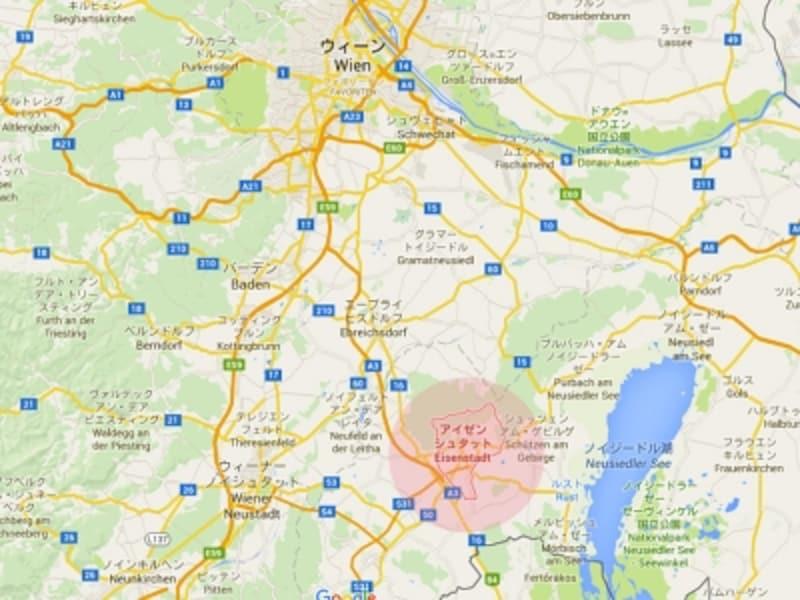 ウィーンからアイゼンシュタットへの地図画像