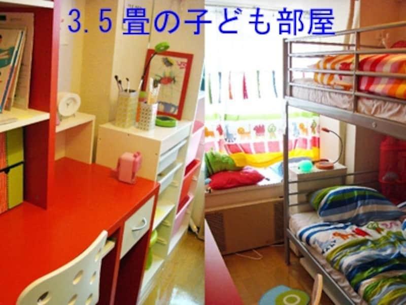 左の棚は【トロファスト】。右の2段ベッドは【トロムスフォー】。小さな部屋は散らかせないから、片づけ習慣がつきやすい?!