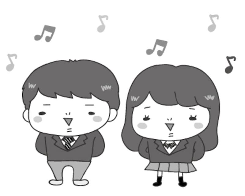 合唱 文化祭 イラスト 白黒 かわいい
