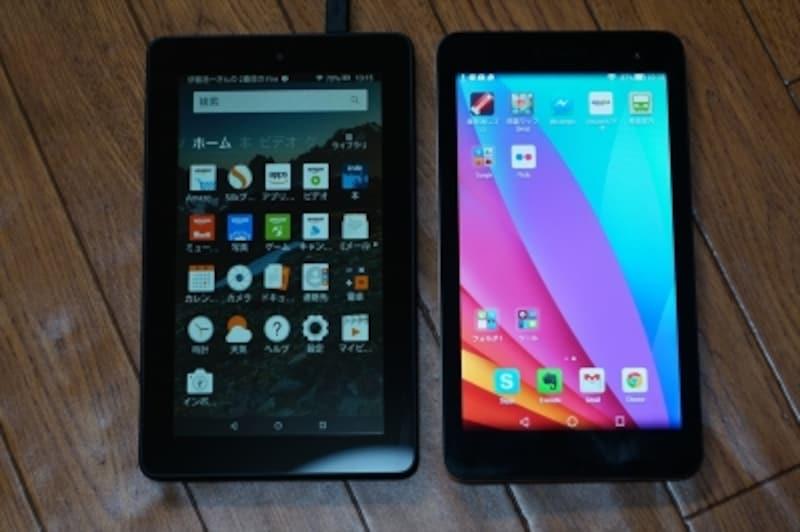 比較写真(左がFire、右がMediaPad)