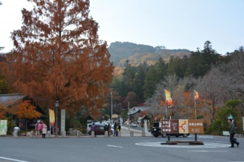 宝登山神社参道入り口から秋のグラデーション