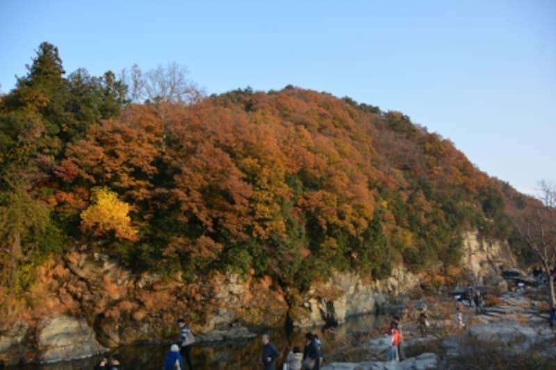 長瀞岩畳から荒川上流に見える紅葉