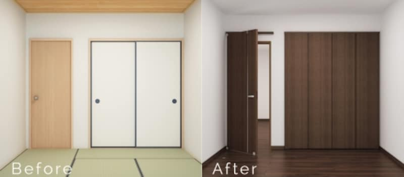 最新のデザインのアウトセットドアで仕上がりも美しく、押し入れもドアと高さを揃えたクロゼットドアに