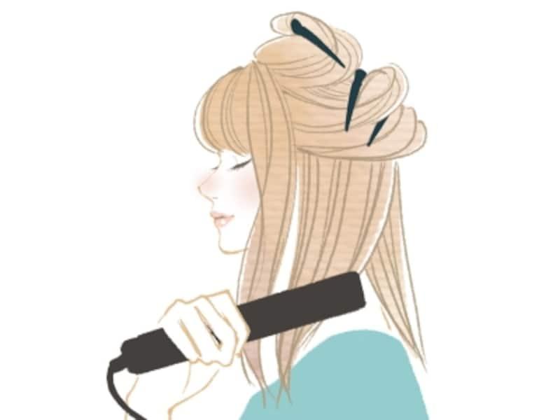後ろ髪のストレートアイロンの使い方
