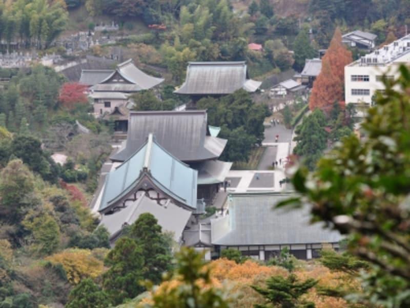 「勝上けん展望台」より。建長寺の大伽藍が小さく見える(2009年11月29日撮影)