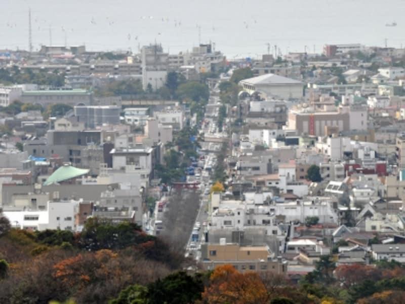「鎌倉十王岩の展望」。海にむかって、若宮大路が一直線に!
