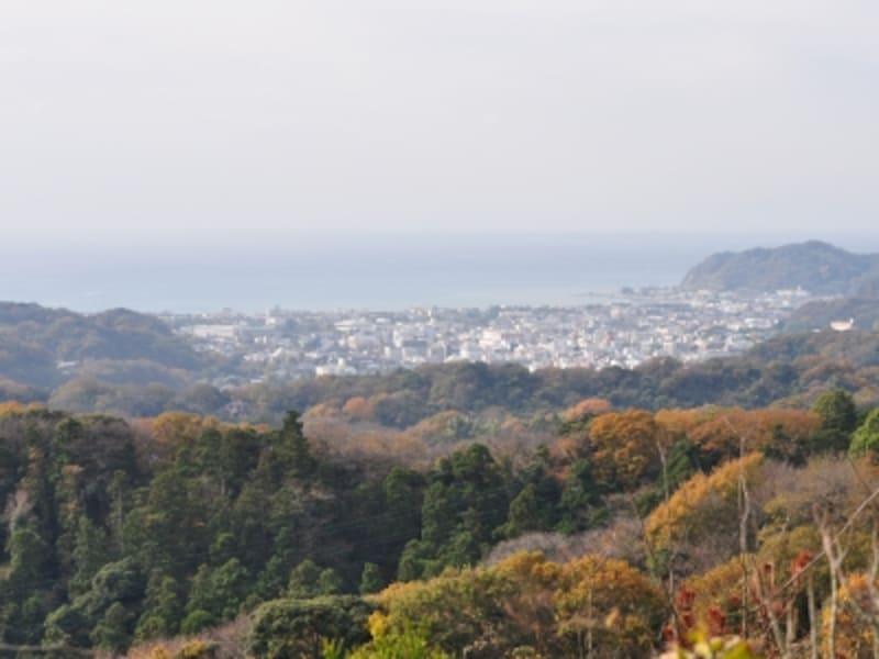 天園(六国峠)より。周囲の山々も秋色に