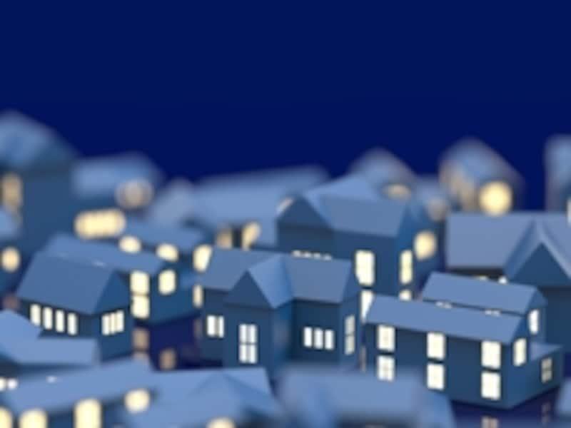 電気が灯る家の模型