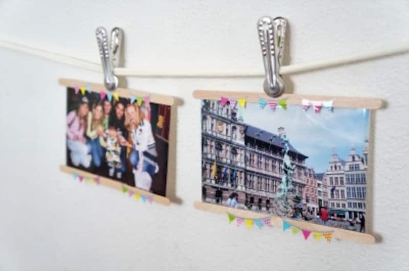 マドラーを付けた写真をクリップで挟んで吊るす。