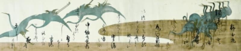 鶴下絵三十六歌仙和歌巻本阿弥光悦筆・俵屋宗達下絵京都国立博物館全期間展示