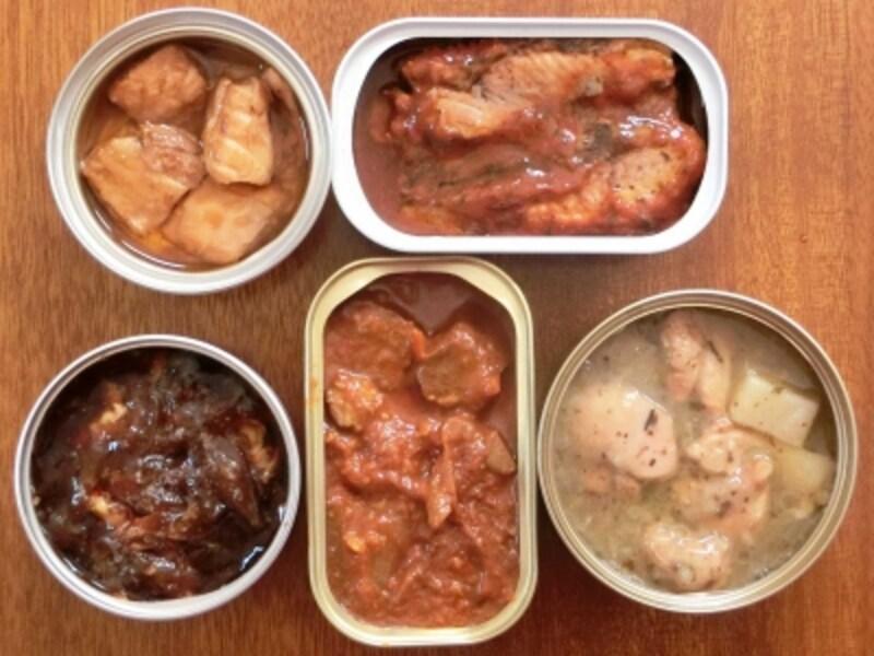 国分K&K缶つま鮭ハラス、SSKセールスイタリアンなサンマトマト&バジル、三菱食品B-1グランプリ十和田バラ焼き缶、アライドコーポレーション家バル牛肉とトマトの赤ワイン煮、アライドコーポレーション家バル鶏肉とジャガイモの香草煮