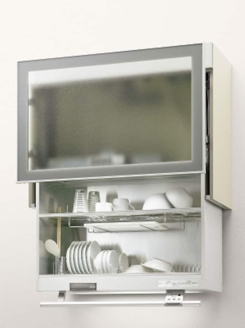 洗った食器をそのまま収納し乾燥。スイッチで棚が上下に昇降するので、使い勝手もいい。[アレスタオートダウンウォール食器乾燥庫タイプ(自動昇降式)]undefinedLIXILundefinedhttp://www.lixil.co.jp/