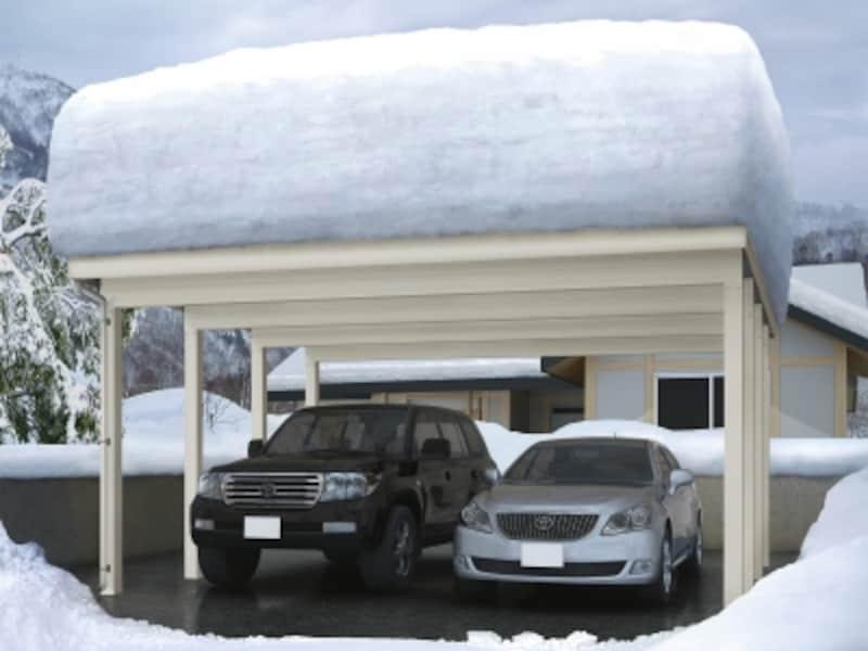 200cmまでの積雪と46m/秒相当の風圧に耐える、強靭な折板屋根カーポート。[ジーポートneoundefined200cm積雪対応(フリー)積雪200cm対応undefined2台用]YKKAPhttp://www.ykkap.co.jp/