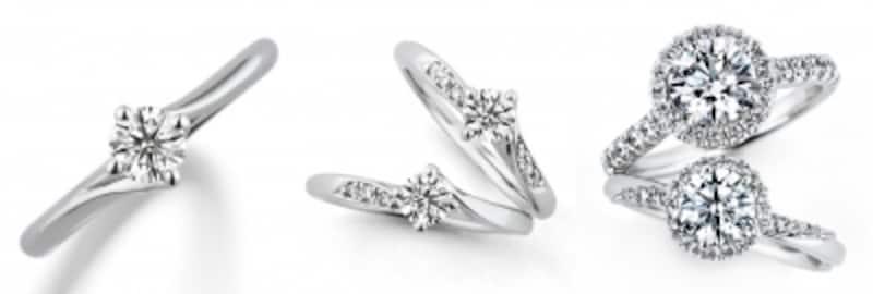 写真:左からソリティア、メレ、パヴェのデザイン例。左/Diamondlily(ダイヤモンドリリー)、中/Diamondlily(ダイヤモンドリリー)メレ、右/Bouquet(ブーケ)/すべてGINZADIAMONDSHIRAISHI