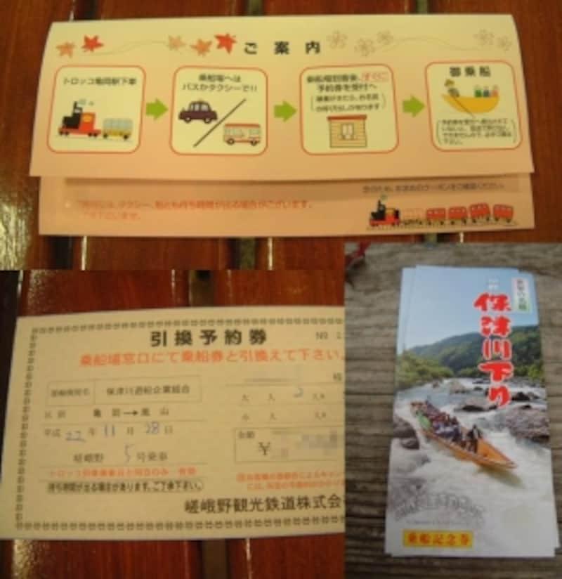 トロッコ嵯峨駅で購入できる保津川下りの乗船引換券と乗船券