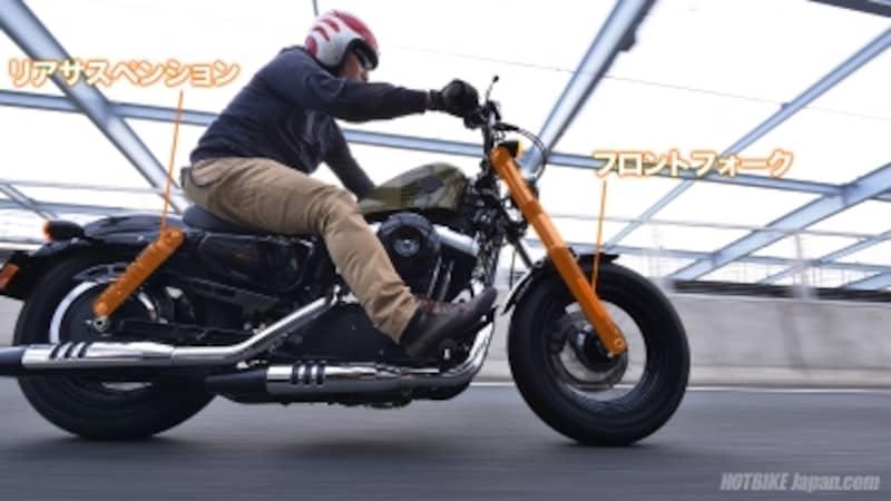 地面に設置するタイヤ&ホイールと車体をつなぐ前後サスペンション。ここの動きがオートバイの性能に直結する