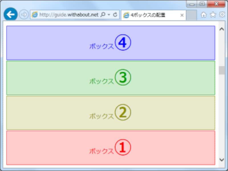 flex-directionプロパティに値column-reverseを指定すると、逆順の縦並び配置で表示される