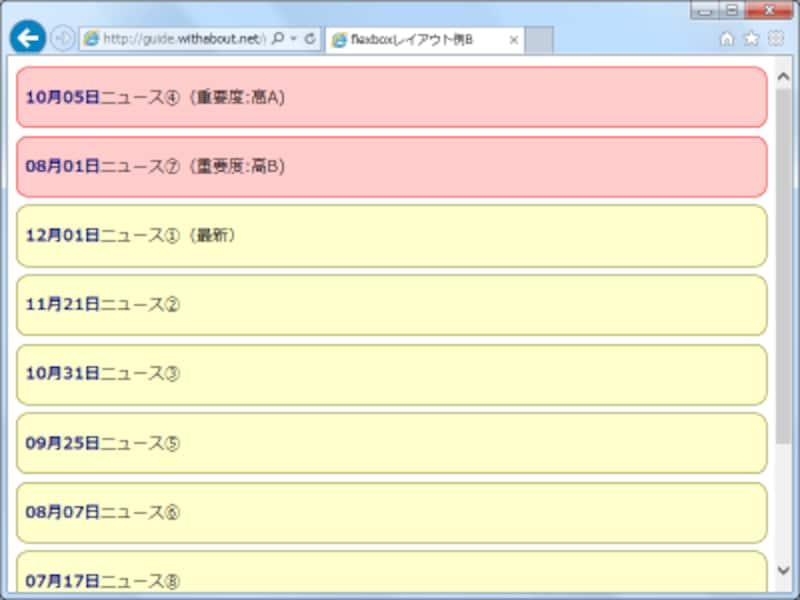 orderプロパティに負の値を指定することで、特定のid名のボックスだけを先頭に表示