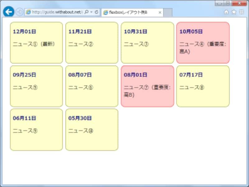 displayプロパティの値にflex以外の値を指定することで、flexレイアウトを解除して、元の時系列順に並べる