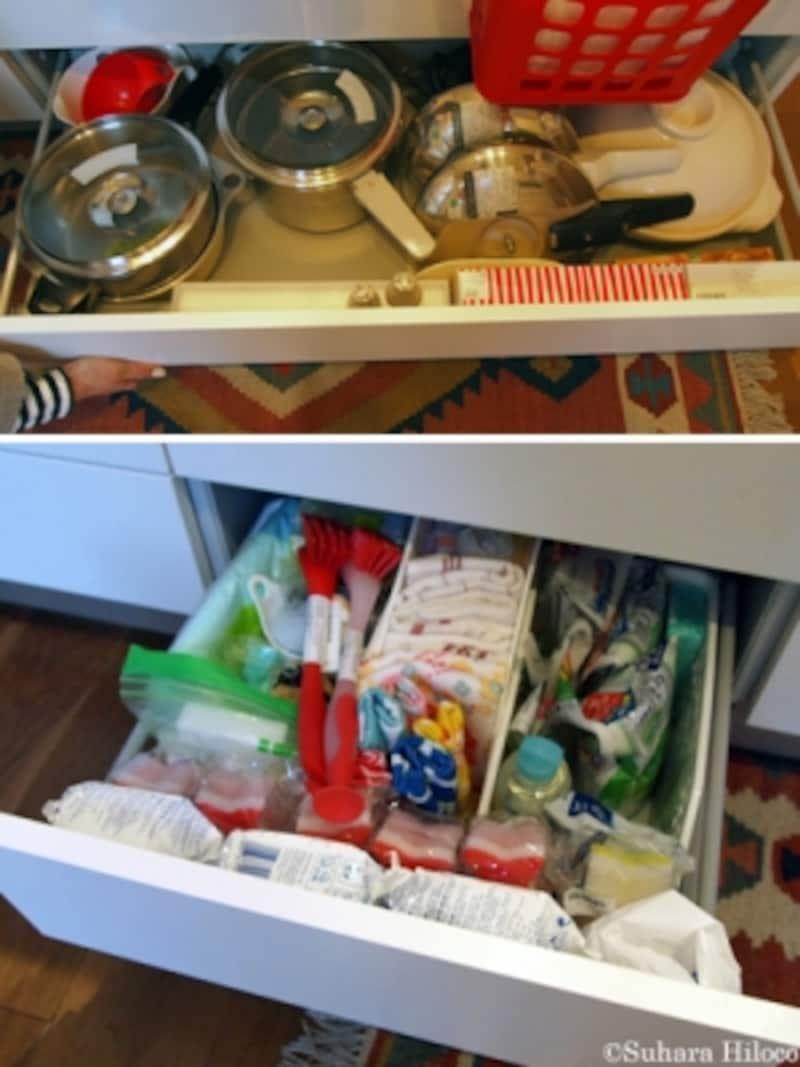 キッチン引き出し収納の使い方