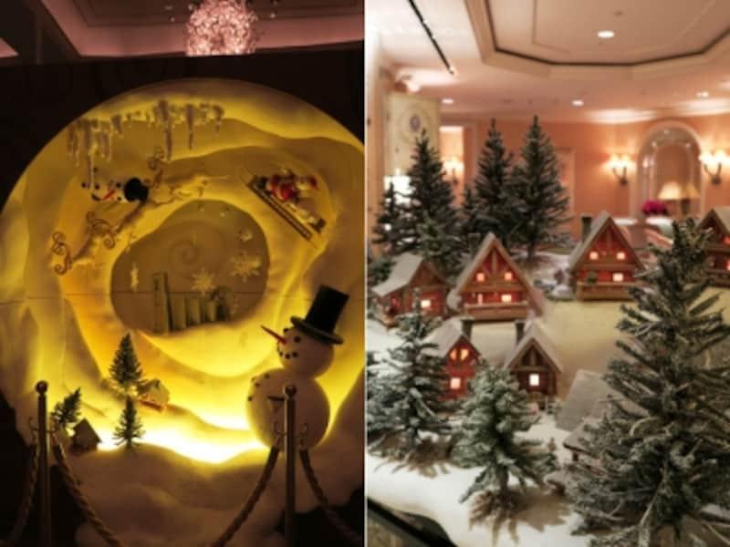 左:みなとみらいがクリスマスに包まれているイメージのオブジェundefined右:フィンランドに実在するサンタ村のミニチュアオブジェ。いずれもデコレーター門口氏の作品(2015年11月20日撮影)