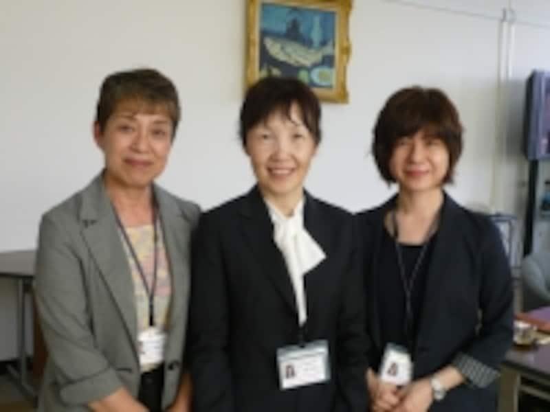 左から森本美佐子准教授、池田恵美子教授、大西昭子講師
