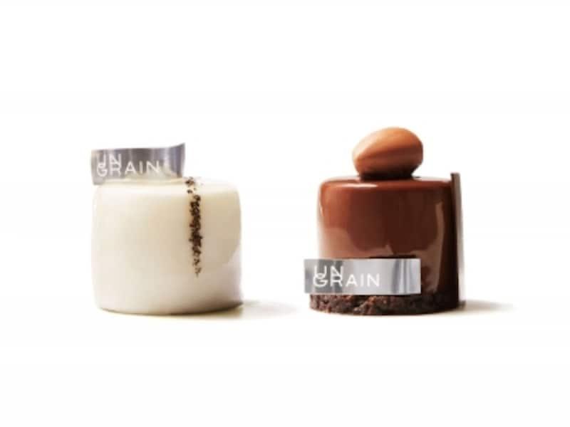 「UNGRAIN(アングラン)」のミニャルディーズ、右:「トゥタンショコラ」、左:「ペティヨン」(各税込470円)