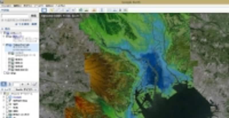 グーグルアースと東京地形図