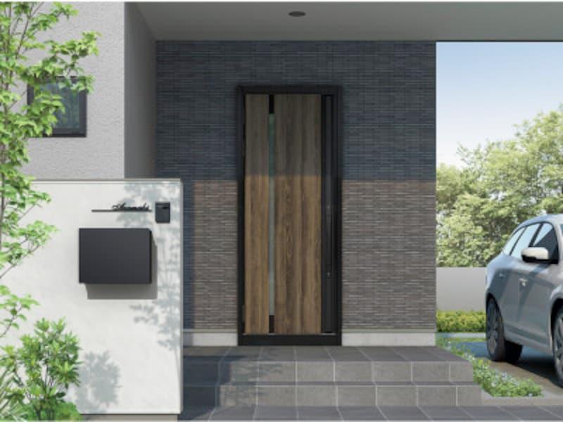 熱が逃げやすい玄関扉の断熱性を高め、室内温度を快適に。木目の質感を生みだす「浮造り」を再現。[TOSTEM高断熱玄関ドア グランデル2] LIXIL http://www.lixil.co.jp/