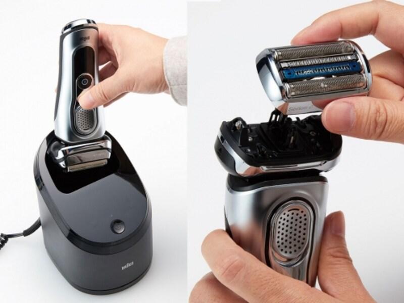 充電中に洗浄でも出来る(左)、替刃はカートリッジ式でまるごと交換できるのも衛生的(右)
