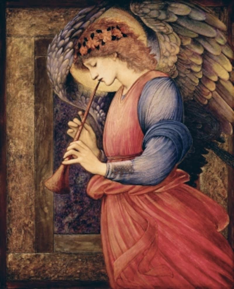 エドワード・コーリー・バーン=ジョーンズundefined《フラジオレットを吹く天使》undefined1878年undefined水彩、グワッシュ、金彩・紙?CourtesyNationalMuseumsLiverpool,WalkerArtGallery