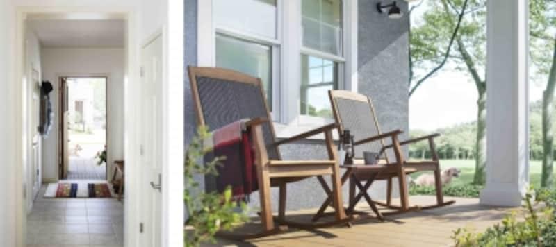 【左】外国の住まいのような、美しいコーディネートが印象的な玄関【右】インナーテラスのある玄関ポーチは、ご近所さんと気軽に会話できるスペース