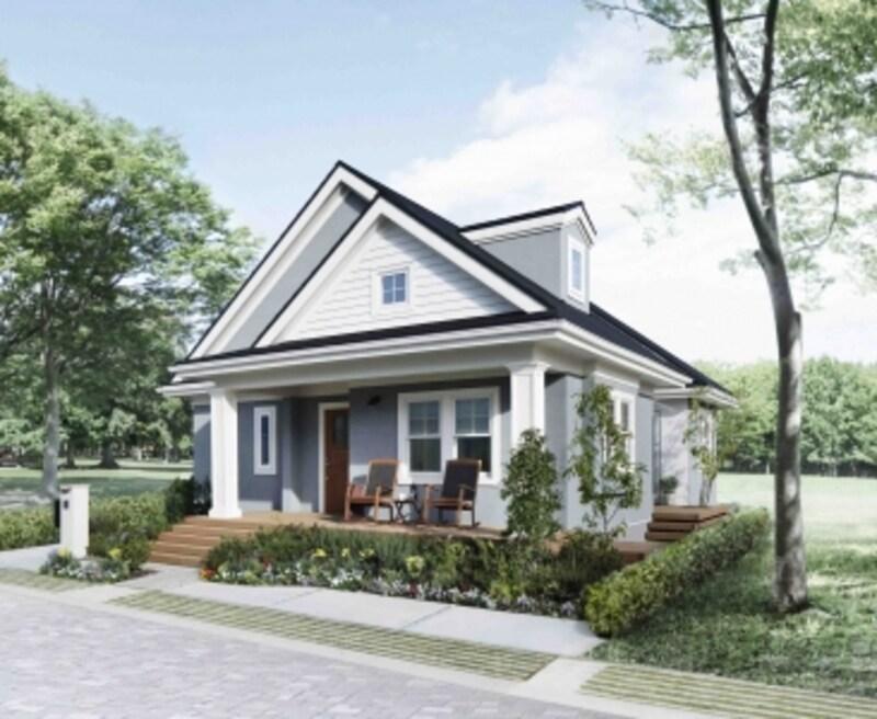 大屋根の妻を少しずらして2つに構成したことで、外観デザインに軽やかなリズムを生み出しています