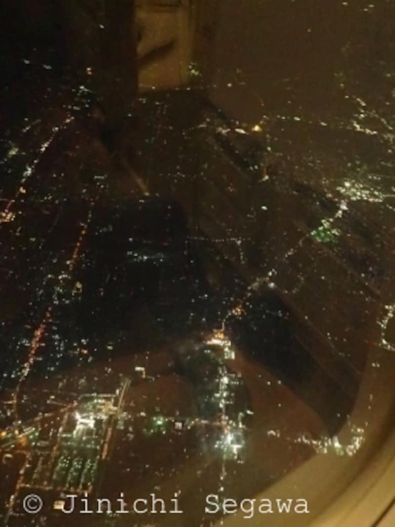機内夜景撮影